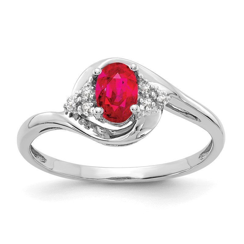 Quality Gold 14k White Gold Ruby and Diamond Ring