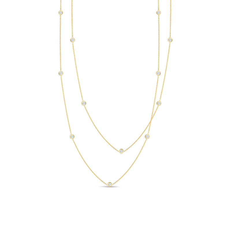 Roberto Coin Necklace With 15 Diamond Stations &Ndash; 18K Yellow Gold