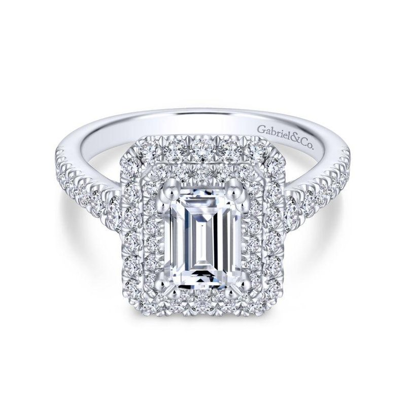 Gabriel Bridal Top Picks 14K White Gold Emerald Cut Diamond Engagement Ring