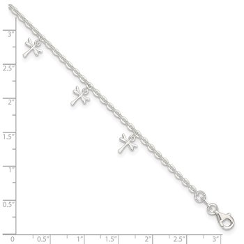 Sterling Silver Polished Dragonfly 9in Plus 1in Ext. Anklet