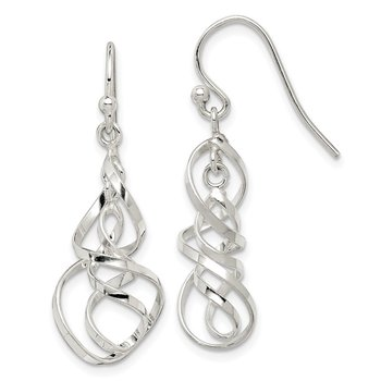Sterling Silver Polished Twisted Dangle Earrings