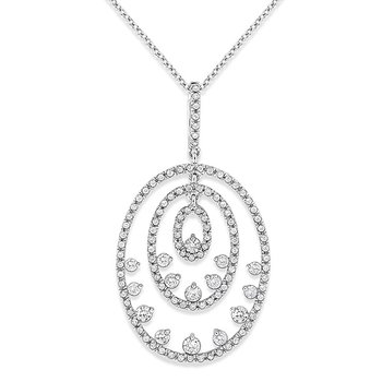 Diamond Multi Oval Drop Necklace in 14k White Gold with 121 Diamonds weighing .70ct tw.