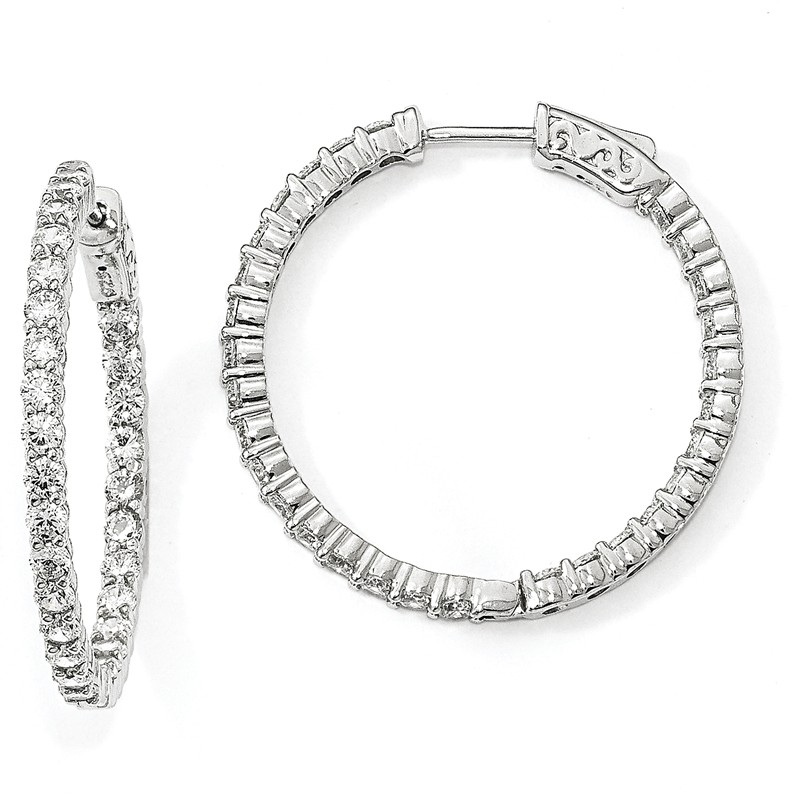 925 Sterling Silver Rhodium-plated 2.5mm Round Hoop Earrings