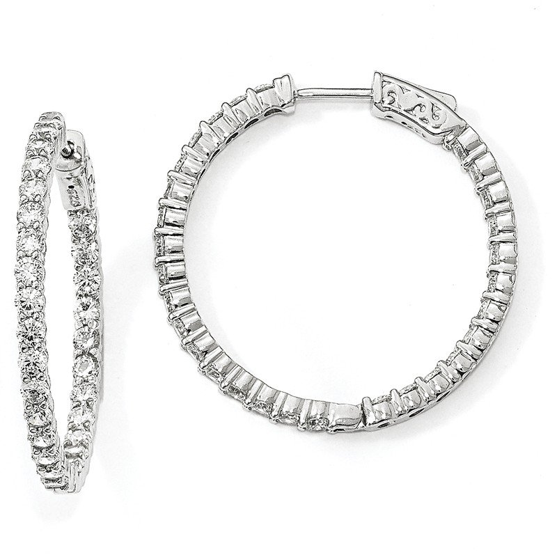 J.F. Kruse Signature Collection Sterling Silver Rhodium-plated CZ In & Out Round Hoop Earrings