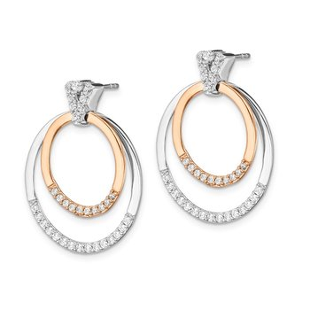 14k Two-tone Diamond Earrings