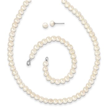 Sterling Silver Madi K Rhod-plat 5-6mm FWC Pearl Neck/Brac/5mm Earrring Set