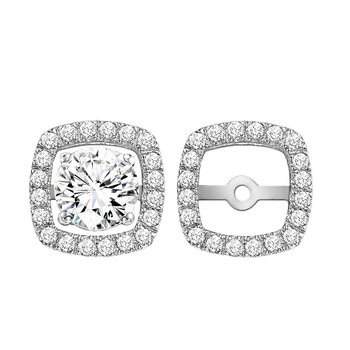 14K Diamond Earrings Cushion Jacket 1/7 ctw (for 1/4 ctw Studs)