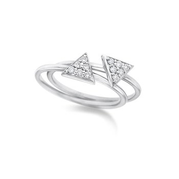 Diamond Triangle Stackable Rings in 14K White Gold with 6 Diamonds Weighing .06ct tw.