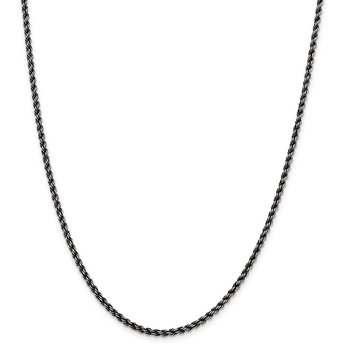 Sterling Silver Ruthenium-plated 2.5mm Rope Chain