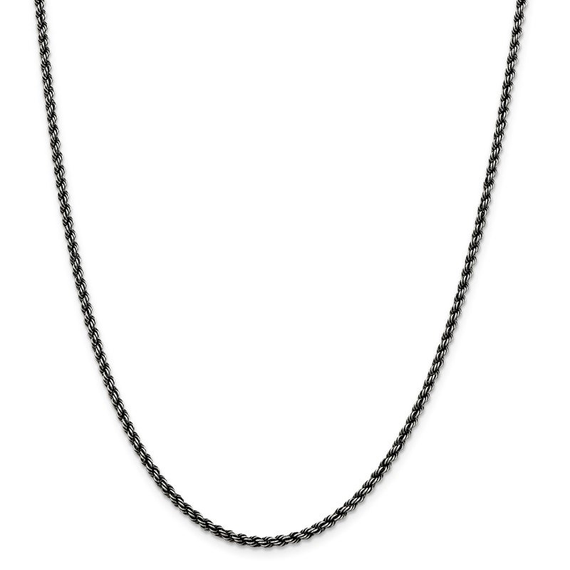 Quality Gold Sterling Silver Ruthenium-plated 2.5mm Rope Chain