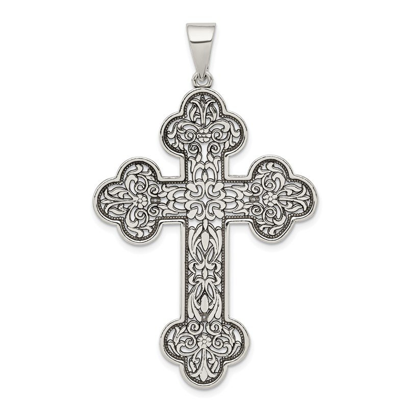 Quality Gold Sterling Silver Antiqued Large Filigree Cross Pendant