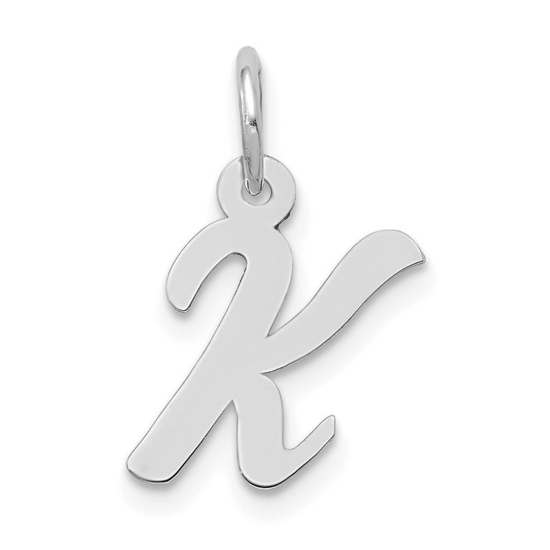 Quality Gold 14k White Gold Small Script Letter K Initial Charm