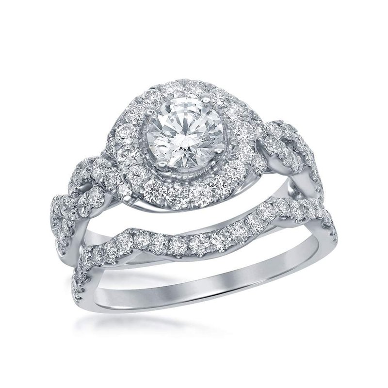 Kingdom Treasures 14kt White Gold Womens Round Diamond Bridal Wedding Engagement Ring Band Set 2.00 Cttw
