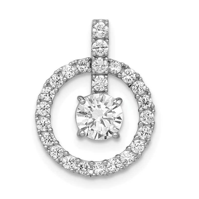 Quality Gold 10K Tiara Collection White Gold Polished CZ Pendant