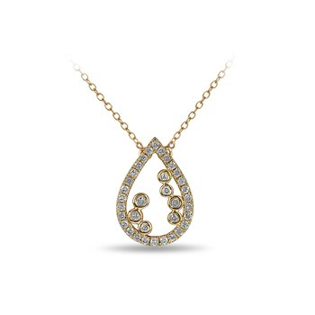 10K YG and diamond Pear shape necklace with jump ring in split prong and bezel setting