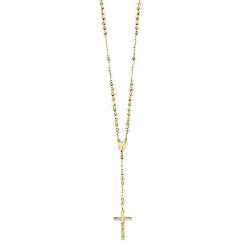 Quality Gold 14k Diamond-cut 4mm Beaded Semi-solid Rosary Necklace
