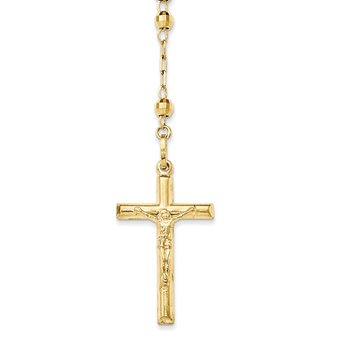 14k Diamond-cut 4mm Beaded Semi-solid Rosary Necklace