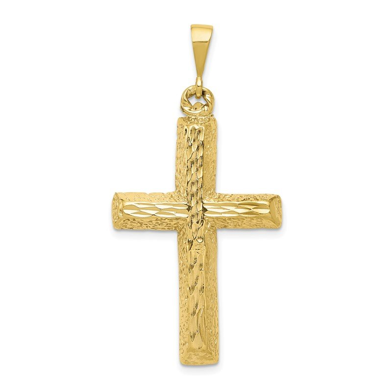Quality Gold 10k Diamond-cut Cross Pendant