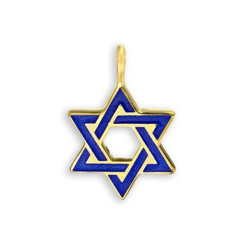 Blue Star of David Pendant.18K