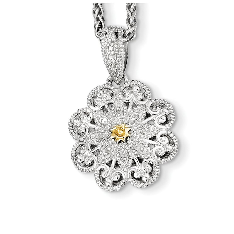 Shey Couture Sterling Silver w/14k Diamond Vintage Necklace