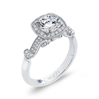 18K White Gold Round Diamond Halo Vintage Engagement Ring (Semi-Mount)