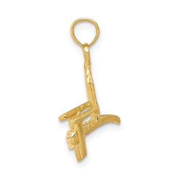 14K 3D Adirondack Beach Chair Pendant