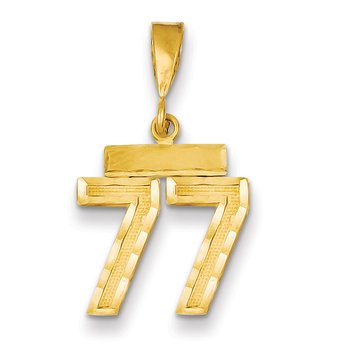 14k Small Diamond-cut Number 77 Charm