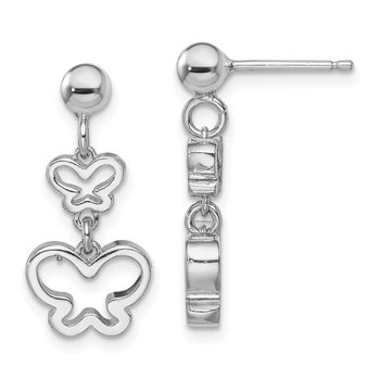Sterling Silver Rhodium-plated Butterfly Dangle Earrings
