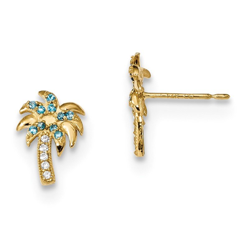 Quality Gold 14k Madi K Blue & Clear CZ Palm Tree Post Earrings