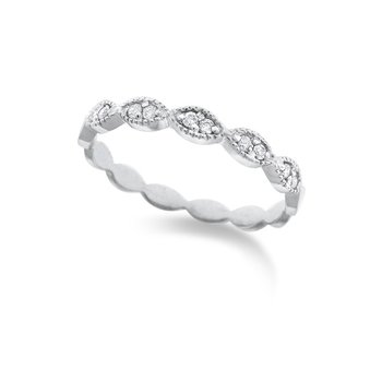 Diamond Marquise Shaped Stackable Ring in 14K White Gold with 10 Diamonds Weighing .08ct tw.