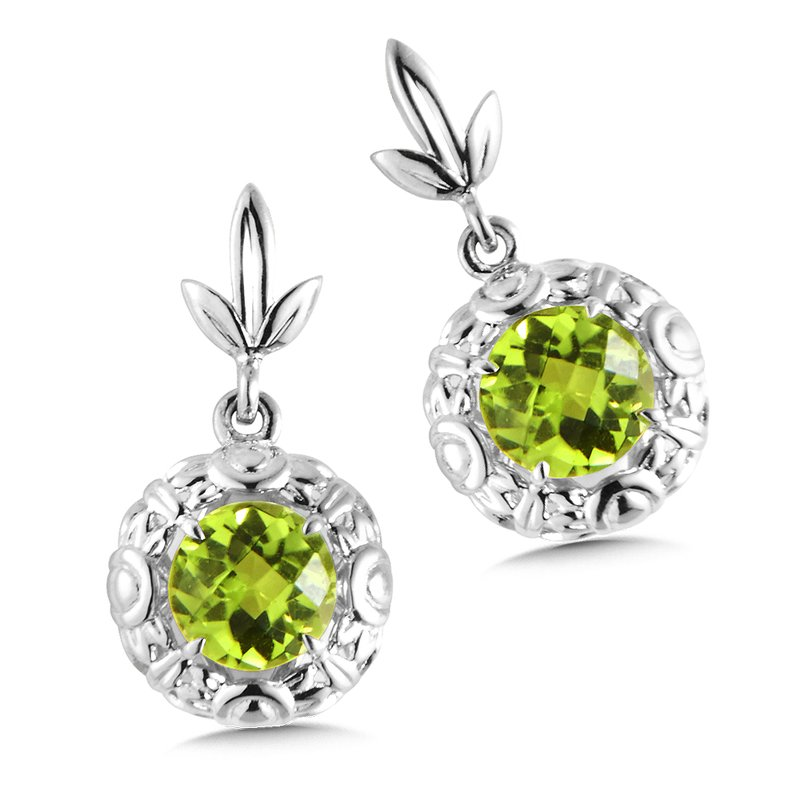 Colore Sg Sterling Silver Peridot Post Earrings