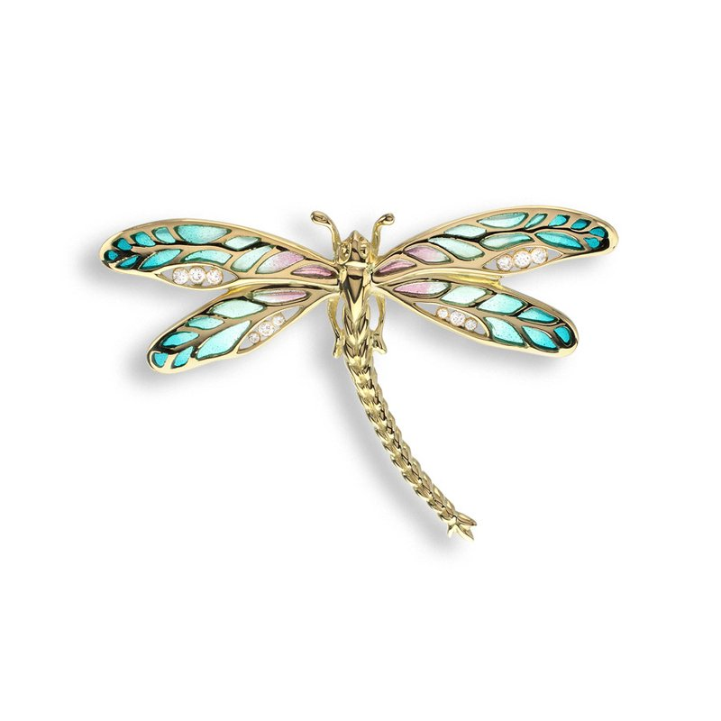 Nicole Barr Designs Green Dragonfly Pendant.18K -Diamond - Plique-a-Jour
