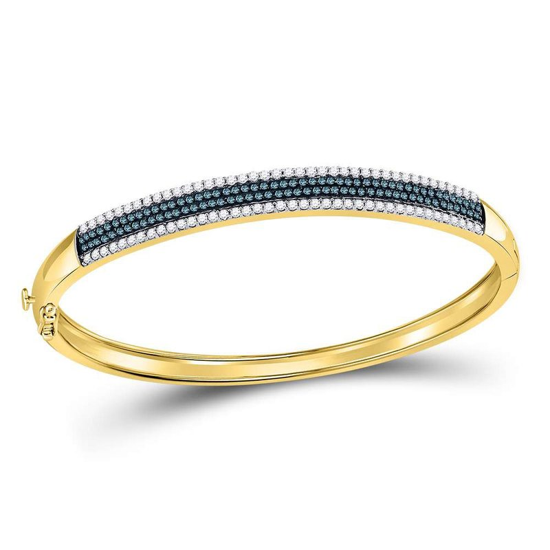 Gold-N-Diamonds, Inc. (Atlanta) 14kt Yellow Gold Womens Round Blue Color Enhanced Diamond Bangle Bracelet 1-3/8 Cttw