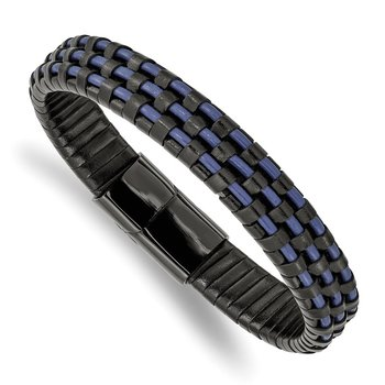 Stainless Steel Polished Black IP Black and Blue Leather 8.25in Bracelet
