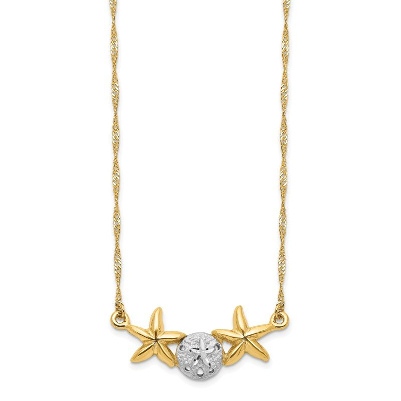 Quality Gold 14K & White Rhodium 17 Brushed & Polished Sand Dollar Starfish Necklace