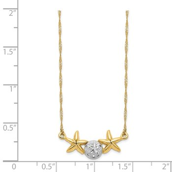 14K & White Rhodium 17 Brushed & Polished Sand Dollar Starfish Necklace
