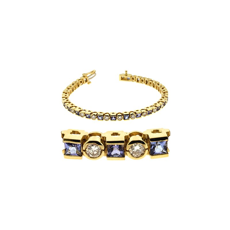 S. Kashi  & Sons Tanzanite & Diamond Bracelet