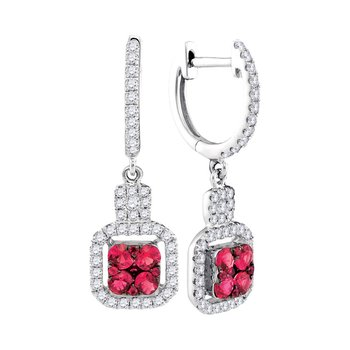 14kt White Gold Womens Round Ruby Diamond Square Dangle Earrings 1.00 Cttw