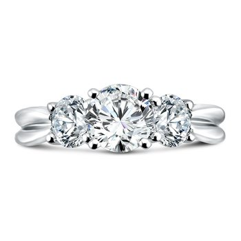 Luxury Collection 3 Stone Diamond Engagement Ring in 14K White Gold with Platinum Head (1ct. tw.)