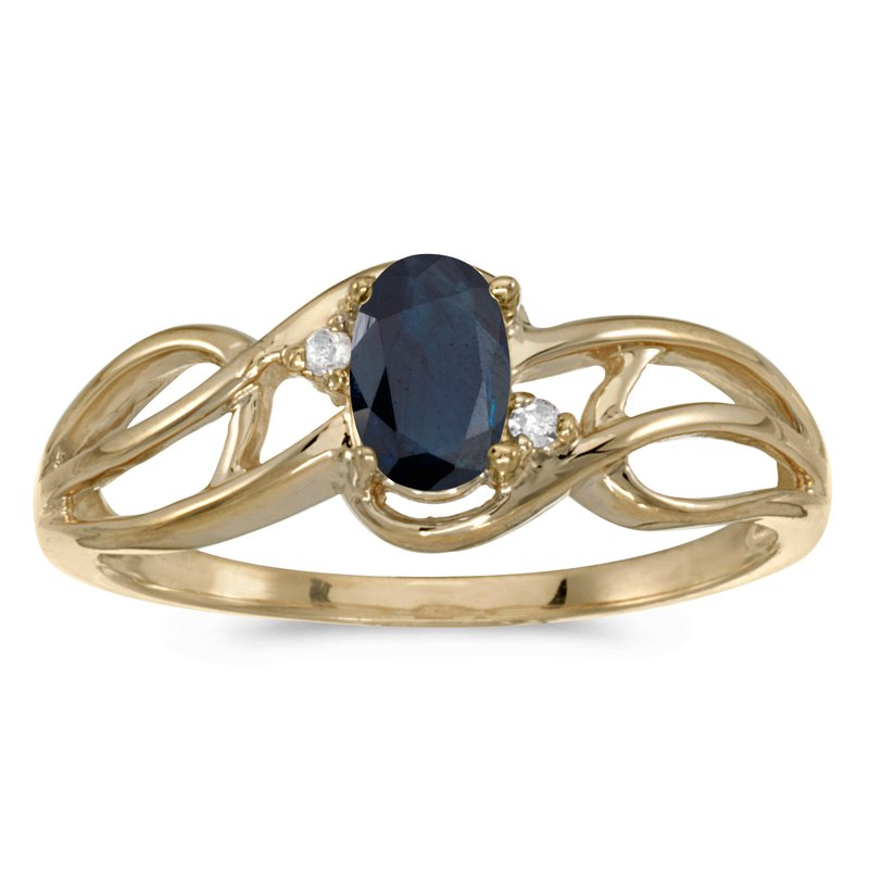 Color Merchants 14k Yellow Gold Oval Sapphire And Diamond Curve Ring