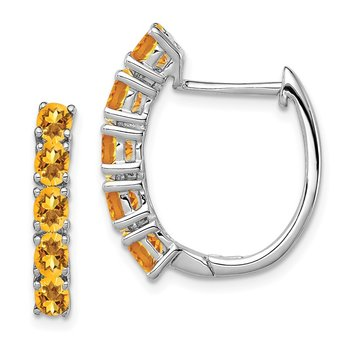 Sterling Silver Rhodium-plated Polished Citrine Hinged Hoop Earrings