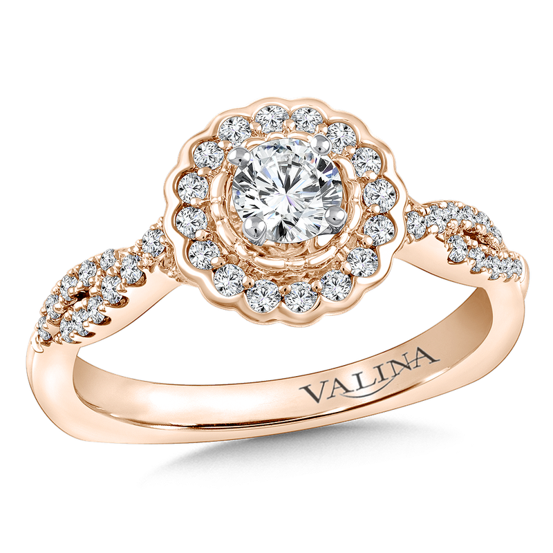 Valina Halo Engagement Ring Mounting in 14K Rose Gold (.35 ct. tw.)