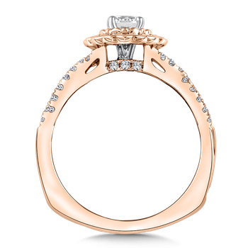 Halo Engagement Ring Mounting in 14K Rose Gold (.35 ct. tw.)
