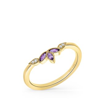 Yellow Gold Amethyst Leaf Diamond Wedding Band