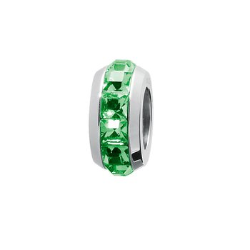 316L stainless steel and fern green Swarovski® Elements crystals