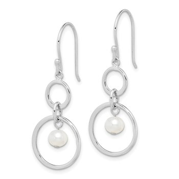 Sterling Silver Rhodium-plated FW Cultured Pearl Circle Dangle Earrings