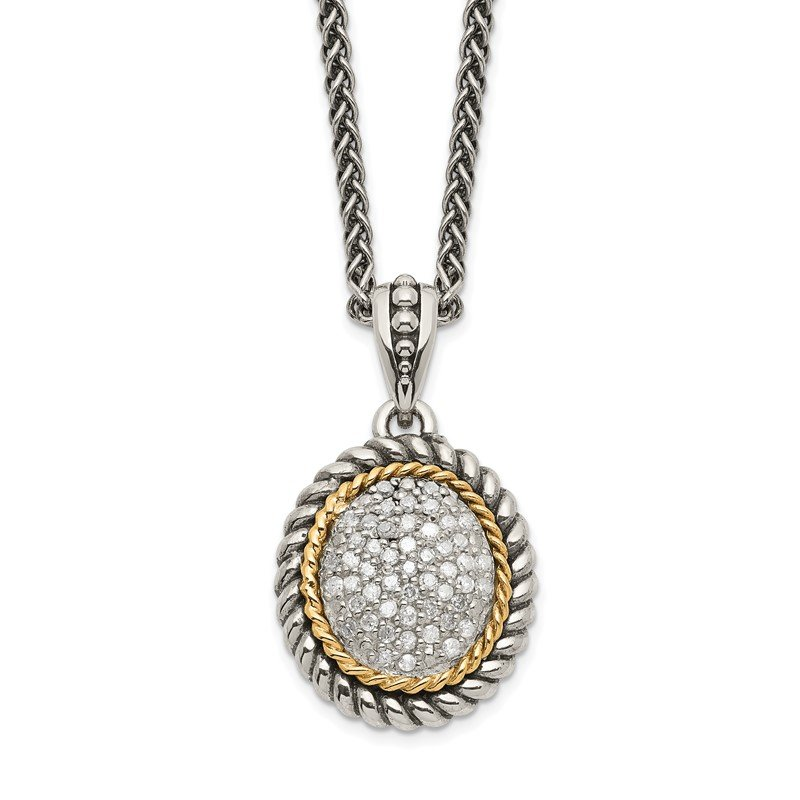 Shey Couture Sterling Silver w/14k Antiqued Diamond Necklace