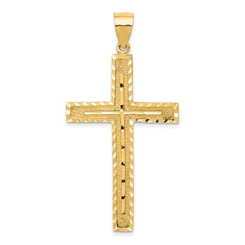 14k Polished and Textured Diamond-cut Latin Cross Pendant