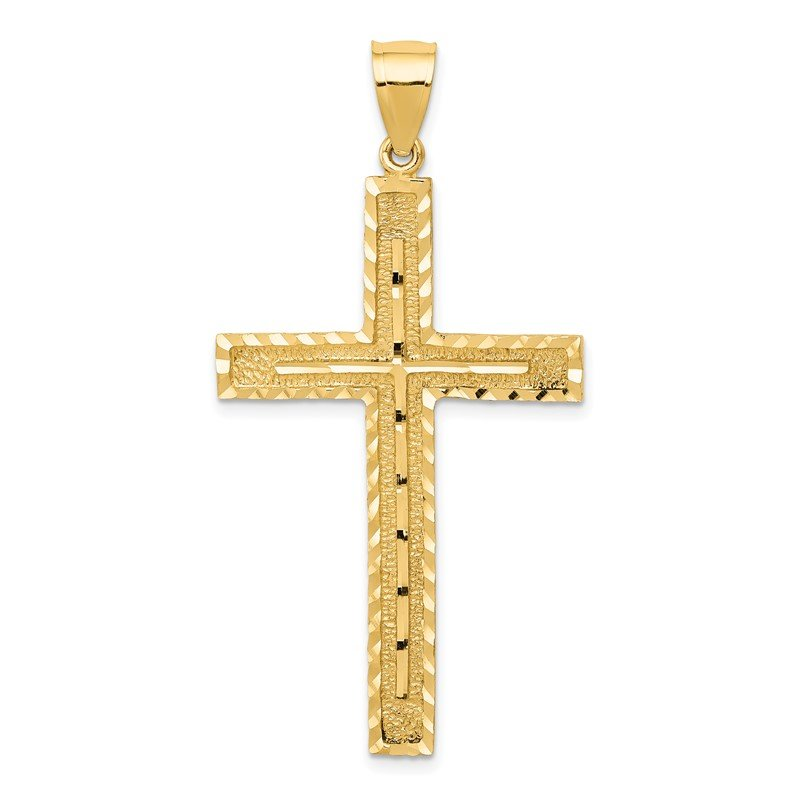 Quality Gold 14k Polished and Textured Diamond-cut Latin Cross Pendant