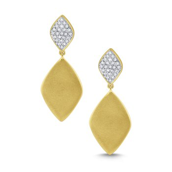 Diamond Tag Earrings Set in 14 Kt. Brushed Gold